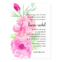 Bat Mitzvah Painted Watercolor Pink Roses Card
