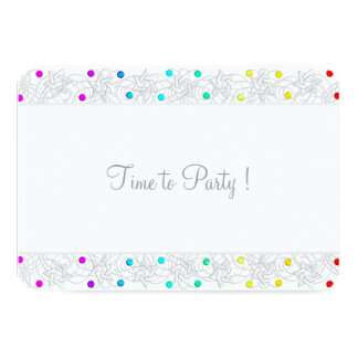 Bat Mitzvah Pearls and Lace Rainbow 3.5x5 Paper Invitation Card