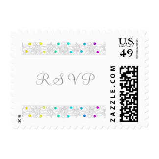 Bat Mitzvah Pearls and Lace Rainbow Postage Stamp