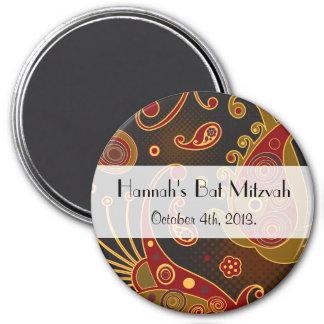 Bat Mitzvah - Persian Paisley - Green Yellow Red 3 Inch Round Magnet