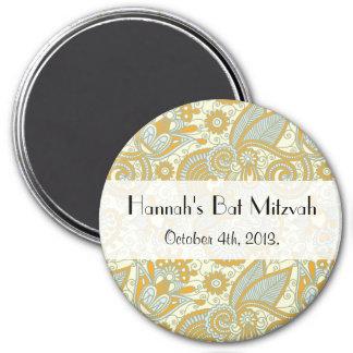 Bat Mitzvah - Persian Paisley, Swirls - Blue 3 Inch Round Magnet
