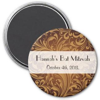Bat Mitzvah - Persian Paisley, Swirls - Brown 3 Inch Round Magnet