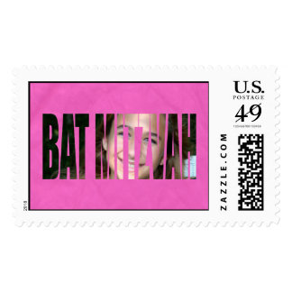Bat Mitzvah Photo Stamp in Hot Pink, Crinkled, Lrg