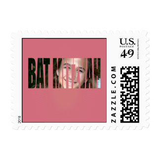 Bat Mitzvah Photo Stamp in Pink, Crinkled, Sm