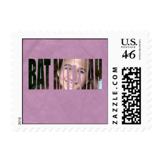 Bat Mitzvah Photo Stamp in Purple, Crinkled, Sm