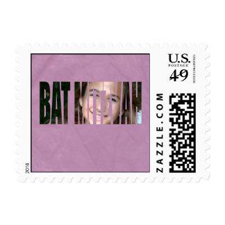 Bat Mitzvah Photo Stamp in Purple Crinkled Sm