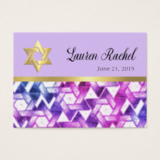 Bat Mitzvah  Pink and Purple Star Damask Business Card