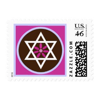 Bat Mitzvah Pink Chocolate Star Flower Stamp