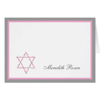 Bat Mitzvah Pink Floral Star Thank you notes Cards