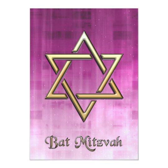 Bat Mitzvah Pink Galaxy & Gold Star of David Card
