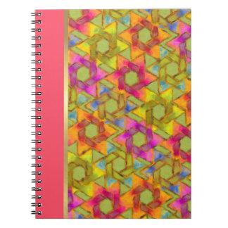 Bat Mitzvah Pink Green Orange Star Damask Notebook