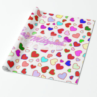 Bat Mitzvah Pink Multi Hearts Wrapping Paper