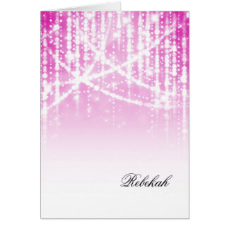 Bat Mitzvah Pink Sparkly Lights Stationery Note Card