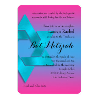 """Bat Mitzvah Pink to Turquoise Fade 5"""" X 7"""" Invitation Card"""