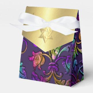 Bat Mitzvah Plum Purple Rainbow Damask + Any Color Favor Box