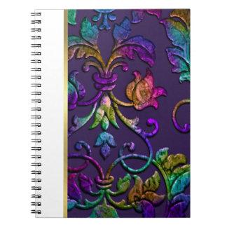 Bat Mitzvah Plum Purple Rainbow Damask + Any Color Notebook