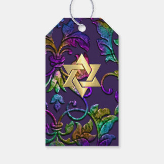 Bat Mitzvah Plum Purple Rainbow Damask + Any Color Pack Of Gift Tags