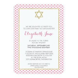 BAT MITZVAH polka dot pattern gold glitter pink Card