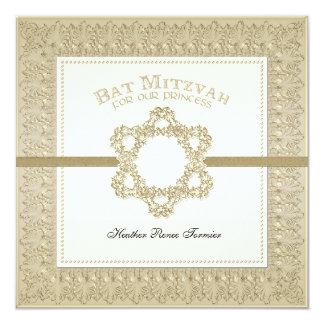 Bat Mitzvah Princess Star of David Champagne Gold Card