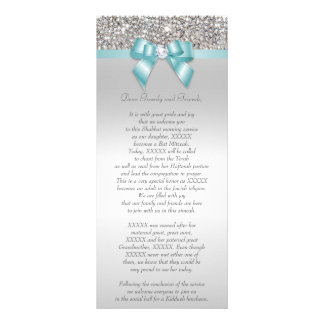 Bat Mitzvah Program Silver Sequin Teal Bow