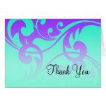 Bat Mitzvah Purple and Aqua Contemporary Swirls Stationery Note Card