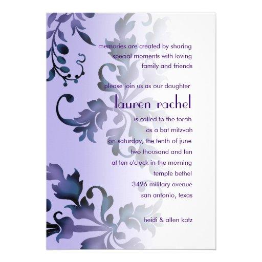 Bat Mitzvah Purple and Blue Foliage Damask Custom Invite