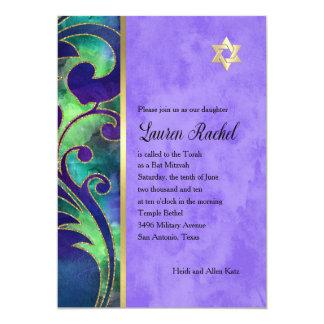Bat Mitzvah Purple Green Watercolor Gold Accents Card