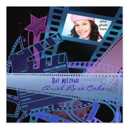 Bat Mitzvah Purple Photo Hollywood Star Card