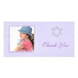 Bat Mitzvah Purple Photo Card