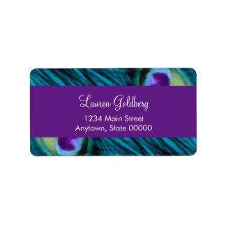 Bat Mitzvah Purple Teal Peacock Label