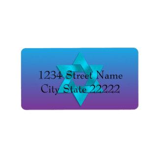 Bat Mitzvah Purple to Blue Fade Address Label