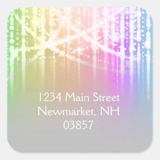 Bat Mitzvah Rainbow Sparkly Lights Square Sticker