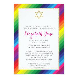 BAT MITZVAH rainbow stripe pattern gold glitter Card