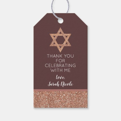Bat Mitzvah Rose Gold Star Of David Thank You Gift Tags