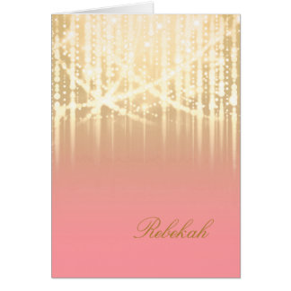 Bat Mitzvah Rose Pink and Gold Sparkly Lights Stationery Note Card