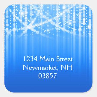 Bat Mitzvah Royal Blue Sparkly Lights Square Sticker