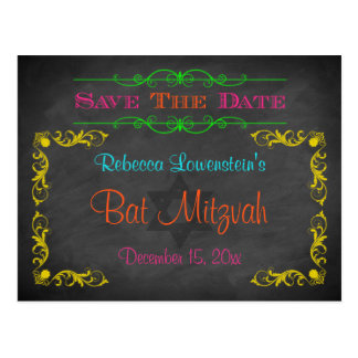 Bat Mitzvah Save The Date Postcard - Chalkboard