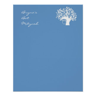 Bat Mitzvah Sign In Board Blue Tree of Life Poster