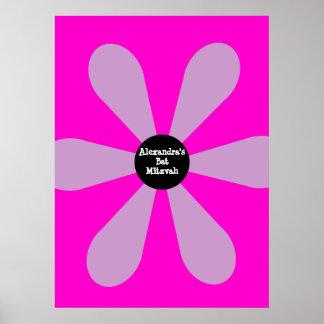 Bat Mitzvah Sign In Board Fun Flower Blue Pink