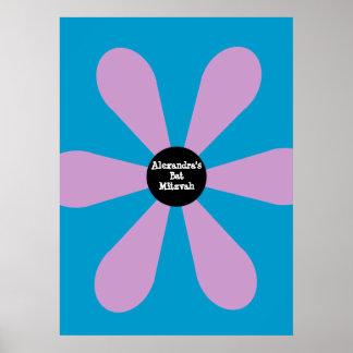 Bat Mitzvah Sign In Board Fun Flower Pink