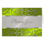 Bat Mitzvah Silver Filigree Swirls Apple Green Greeting Cards