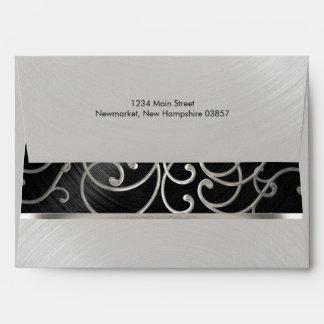 Bat Mitzvah Silver Filigree Swirls Black Envelope