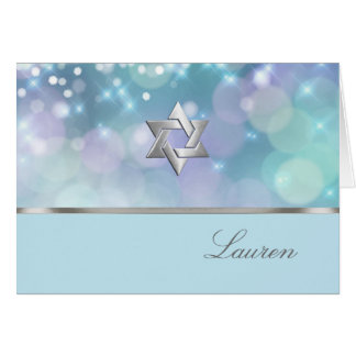 Bat Mitzvah Sparkle Lights Blue and Purple Card