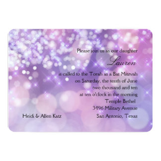 Bat Mitzvah Sparkle Lights Purple and Pink Card