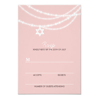Bat Mitzvah Sparkles Star Of David Invite RSVP
