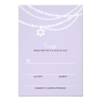 "Bat Mitzvah Sparkles Star Of David Invite RSVP 3.5"" X 5"" Invitation Card"