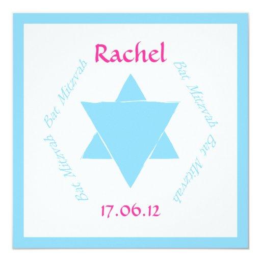 Bat Mitzvah Star of David invitation blue, persona