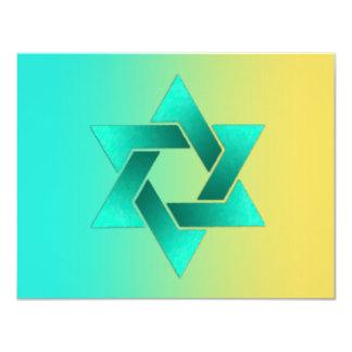 Bat Mitzvah Star of David Yellow Aqua Card