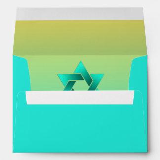 Bat Mitzvah Star of David Yellow Aqua Envelope