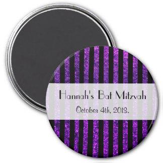 Bat Mitzvah - Stripes, Lines, Glitter - Purple 3 Inch Round Magnet
